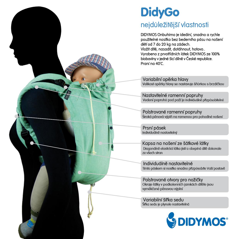Rychlé, lehké a skladné nosítko na záda DidyGo pro děti, které už samy sedí