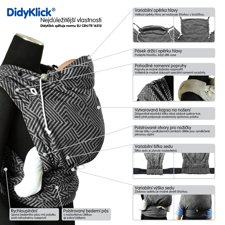 Rostoucí šátkové ergonomické nosítko DidyKlick vhodné skutečně od narození do 18 kg.